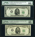 Small Size:Federal Reserve Notes, Fr. 1963-B; B* $5 1950B Federal Reserve Notes. PMG Graded Choice Uncirculated 64 EPQ; Gem Uncirculated 65 EPQ.. ... (Total: 2 notes)