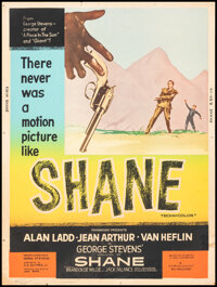 """Shane (Paramount, R-1959). Rolled, Fine/Very Fine. Poster (30"""" X 40""""). Western"""