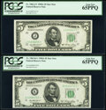 Fr. 1962-J*; K* $5 1950A Federal Reserve Star Notes. PCGS Gem New 65PPQ. ... (Total: 2 notes)