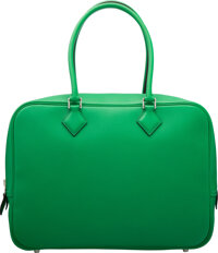 """Hermès 32cm Bamboo Swift Leather Plume Bag with Palladium Hardware R Square, 2014 Condition: 1 13"""" Width x 1..."""