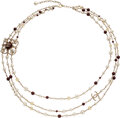 """Luxury Accessories:Accessories, Chanel Burgundy Stone, Pearl, & Crystal Three Strand Necklace. Condition: 1. 38"""" Length. ..."""