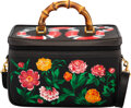 """Luxury Accessories:Bags, Gucci Vintage Customized Black Leather Vanity Case. Condition: 2. 11.5"""" Width x 7.5"""" Height x 6"""" Depth. ..."""