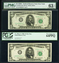 Small Size:Federal Reserve Notes, Fr. 1964-A*; B* $5 1950C Federal Reserve Star Notes. PCGS Very Choice New 64PPQ; PMG Choice Uncirculated 63 EPQ.. ... (Total: 2 notes)