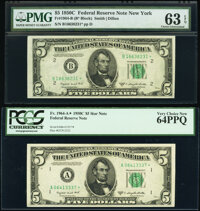 Fr. 1964-A*; B* $5 1950C Federal Reserve Star Notes. PCGS Very Choice New 64PPQ; PMG Choice Uncirculated 63 EPQ. ... (To...