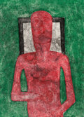Prints & Multiples, Rufino Tamayo (1899-1991). Hombre Rojo, 1976. Mixografia in colors on Arches paper. 30-3/8 x 22-1/2 inches (77.2 x 57.2 ...