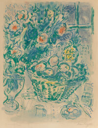 Marc Chagall (1887-1985) Corbeille de Fruits et Ananas, 1964 Lithograph in colors on Rives BFK paper