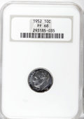 Proof Roosevelt Dimes: , 1952 10C PR68 NGC. NGC Census: (118/12). PCGS Population (26/0).Mintage: 81,980. Numismedia Wsl. Price for NGC/PCGS coin i...