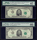 Small Size:Federal Reserve Notes, Fr. 1971-L; L* $5 1969B Federal Reserve Notes. PMG Superb Gem Unc 67 EPQ; Gem Uncirculated 66 EPQ.. ... (Total: 2 notes)