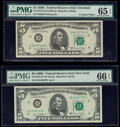 Small Size:Federal Reserve Notes, Fr. 1972-B*; D $5 1969C Federal Reserve Notes. PMG Graded Gem Uncirculated 66 EPQ; Gem Uncirculated 65 EPQ.. ... (Total: 2 notes)