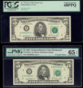 Small Size:Federal Reserve Notes, Fr. 1976-E* $5 1981 Federal Reserve Star Notes. PMG Gem Uncirculated 65 EPQ; PCGS Superb Gem New 68PPQ.. ... (Total: 2 notes)