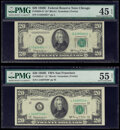Small Size:Federal Reserve Notes, Fr. 2064-G*; L* $20 1950E Federal Reserve Star Notes. PMG Graded Choice Extremely Fine 45 EPQ; About Uncirculated 55 Net.. ... (Total: 2 notes)