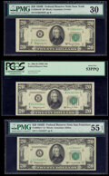 Small Size:Federal Reserve Notes, Fr. 2063-L* $20 1950D Federal Reserve Note. PMG About Uncirculated 55 EPQ;. Fr. 2064-B; B* $20 1950E Federal Reserve Notes... (Total: 3 notes)