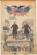 Political:Textile Display (1896-present), McKinley & Hobart: Fabulous 1896 Glazed Cotton Campaign Banner....