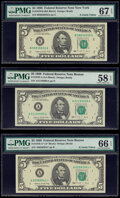 Small Size:Federal Reserve Notes, Fr. 1979-A; A*; B $5 1988 Federal Reserve Notes. PMG Graded Choice About Unc 58 EPQ; Gem Uncirculated 66 EPQ; Superb Gem Unc 6... (Total: 3 notes)