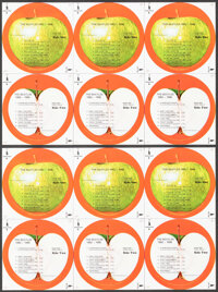 """The Beatles & Other Lot (Apple, 1973). Very Fine+. Uncut Sheets for Vinyl Label Stickers (5) (8.5"""" X 12"""")..."""