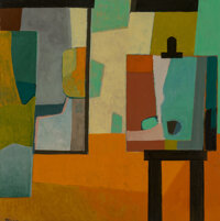 André Minaux (1923-1986) L'Atelier Oil on board 19-3/4 x 19-3/4 inches (50.2 x 50.2 cm) Signed lower left: Minaux...
