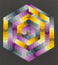 Victor Vasarely (1906-1997) Mercure-C, 1987 Paper collage on board 17-3/4 x 15-1/2 inches (45.1 x