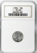 Proof Roosevelt Dimes: , 1950 10C PR68 NGC. NGC Census: (40/0). PCGS Population (4/0).Mintage: 51,386. Numismedia Wsl. Price for NGC/PCGS coin in P...