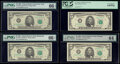 Small Size:Federal Reserve Notes, Fr. 1978-B; C*; E; G* $5 1985 Federal Reserve Notes. PMG Gem Uncirculated 66 EPQ; PCGS Very Choice New 64PPQ; PMG Gem Uncircul... (Total: 4 notes)