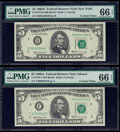 Small Size:Federal Reserve Notes, Fr. 1970-B; F $5 1969A Federal Reserve Notes. PMG Gem Uncirculated 66 EPQ.. ... (Total: 2 notes)