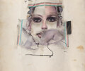 Works on Paper, Larry Rivers (1923-2002). Face for a Lipstick Ad, 1968. Charcoal, tape, magazine, and metal bracket collage on paper. 11...