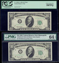 Small Size:Federal Reserve Notes, Fr. 2010-G; I $10 1950 Wide Federal Reserve Notes. PCGS Choice About New 58PPQ; PMG Choice Uncirculated 64 EPQ.. ... (Total: 2 notes)