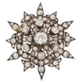 Estate Jewelry:Brooches - Pins, Victorian Diamond, Silver-Topped Gold Pendant-Brooch. ...