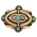 Estate Jewelry:Brooches - Pins, Victorian Beryl, Seed Pearl, Hair, Gold Pendant-Brooch-Locket. ...