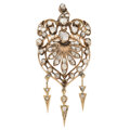 Estate Jewelry:Brooches - Pins, Antique Diamond, Rose Gold Brooch-Pendant. ...