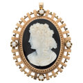 Estate Jewelry:Brooches - Pins, Victorian Hardstone Cameo, Cultured Pearl, Rose Gold Locket-Pendant-Brooch. ...