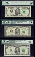 Small Size:Federal Reserve Notes, Fr. 1980-B*; D; D*; E* $5 1988A Federal Reserve Notes. PMG Graded Choice Uncirculated 64 EPQ; Gem Uncirculated 65 EPQ (3);. ... (Total: 5 notes)