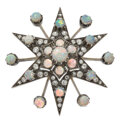 Estate Jewelry:Brooches - Pins, Victorian Opal, Diamond, Silver-Topped Gold Brooch-Pendant. ...