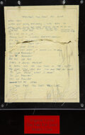 """Music Memorabilia:Autographs and Signed Items, Mötley Crüe Signed """"Too Fast For Love"""" Handwritten Lyric..."""