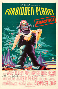 """Forbidden Planet (MGM, 1956). Very Fine+ on Linen. Autographed One Sheet (27"""" X 41"""")"""