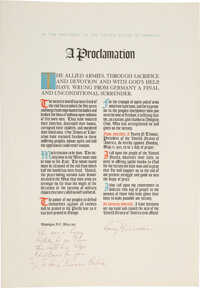 Harry S Truman: Nazi Germany's Surrender Proclamation Inscribed and Signed to Cabinet Member Frances Perkins