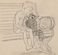 Works on Paper, Ernest Howard Shepard (British, 1879-1976). Boy and Raccoon, Punch magazine interior study. Pencil on ...