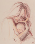 Works on Paper, American Artist (20th Century). Mother and Child. Pastel and pencil on paper. 16 x 12 inches (40.6 x...