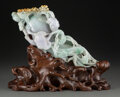 Carvings, A Chinese Carved Jadeite Lingzhi Figural Group with Fitted Wood Stand. 3-5/8 x 13 x 4 inches (9.2 x 33.0 x 10.2 cm) (figural...