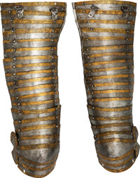 Etched and Gilded Pair of German Cuisses with Knee-Cop. ... (Total: 2)
