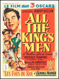 """Movie Posters:Academy Award Winners, All the King's Men (Columbia, 1951). Fine on Linen. Trimmed Belgian (14.25"""" X 19"""") Academy Awards Style. Drama. . ..."""
