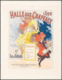 """Halle Aux Chapeaux (1892), Rolled, Very Fine+. French Poster (15.25"""" X 19.75) Jules Cheret Artwork. Advertising..."""