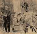 Paintings, Charles Dana Gibson (American, 1867-1944). Elegant interior with man and woman. Ink on paper laid on board. 7-1/8 x 7-5/...