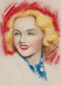 Pin-Up and Glamour Art, Charles Gates Sheldon (American, 1889-1960). Beauty in Blue. Pastel on paper. 13-3/4 x 10-1/4 inches...