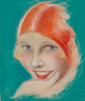 Works on Paper, Charles Gates Sheldon (American, 1889-1960). Blonde Beauty. Pastel on paper. 10-1/2 x 9 inches (26.7...