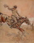 Mainstream Illustration, Dan Smith (American, 1865-1934). Wild Ride, possible newspaper illustration. Mixed media on paper laid on board. 13-3/4 ...