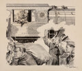Works on Paper, Frank Godwin (American, 1889-1959). Southern Railroad. Ink and pencil with collage on card. 16-1/2 x 18-1/2 inches (41.9...