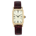 Estate Jewelry:Watches, Cartier Gold, Leather Watch. ...