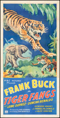 """Movie Posters:Action, Tiger Fangs (PRC, 1943). Folded, Very Fine-. Three Sheet (41"""" X 80""""). Action.. ..."""