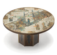 Philip LaVerne (American, 1907-1987) and Kelvin LaVerne (American, b. 1937) Chan Coffee Table Acid-etched and enamele