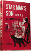 "Books:First Editions, Andre Norton: Star Man's Son 2250 A.D. (New York: Harcourt,Brace and Co., 1952), first edition (""A"" copy in Currey), 24..."